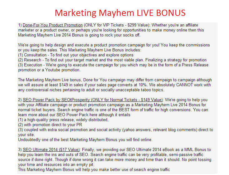 marketing mayhem live bonus